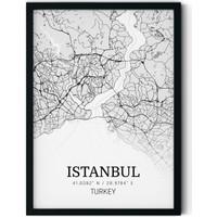 Teneffüs Design Modern Istanbul Haritası Şehir Tablosu Siyah Beyaz Çerçeveli