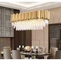 Burenze A+ Lüks Modern Kristal Taşlı Sarkıt Avize Gold Sarı Yemek Masası