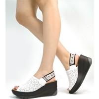 Ballerin's Deri El Yapımı Kadın Beyaz Sandalet BLRS-520