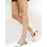 Ballerin's Deri Jade Beyaz Kadın Ayakkabı