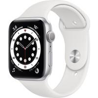 Apple Watch Seri 6 44mm GPS Silver Alüminyum Kasa ve Beyaz Spor Kordon M00D3TU/A