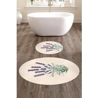 Elleser 60x90 - 50x60 Dijital Baskılı Oval Banyo Paspası 2'li Set TYKOB-PS-018