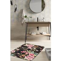 Hamur Floral 75x125 cm Banyo Paspası Kaymaz Taban Banyo Halısı