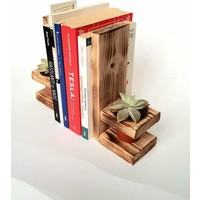 Sevilir Company Ahşap Sukulent Model Kitap Tutucu