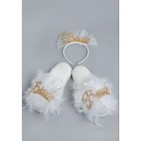 Asimod Kadın Bride Havlu Terlik ve Bride Taç Ikili Takım