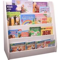 Oyuncak Odası Montessori Beyaz Ahşap Kitaplık 75 x 75 x 30 cm