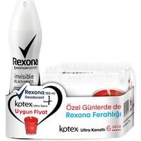 Rexona Invisible Black+White Deodorant Sprey 150 ML + Kotex Ultra Gece 6'lı 2'li Set