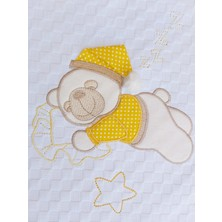 Mellowbabystore %100 Pamuk Sarı Uyuyan Ayı Desenli Bebek Pikesi