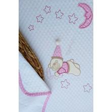 Mellowbabystore %100 Pamuk Pembe Büyük Puanlı Uyuyan Ayı Desenli Bebek Pikesi