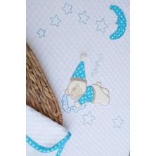 Mellowbabystore %100 Pamuk Mavi Büyük Puanlı Uyuyan Ayı Desenli Bebek Pikesi
