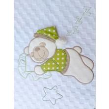 Mellowbabystore %100 Pamuk Yeşil Büyük Puanlı Uyuyan Ayı Desenli Bebek Pikesi