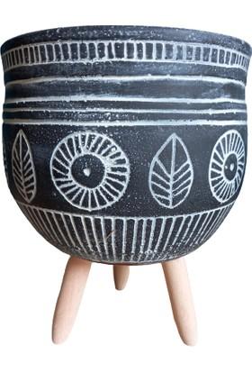 Bitki Tasarımı Antik Roma Ayaklı Saksı Antrasit