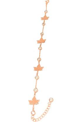 Magnamina Yaprak Model Rose Gümüş Bileklik