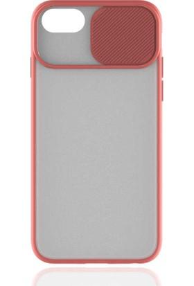 Lopard Apple iPhone SE 2020 Kılıf Şeffaf Lensi Kamera Sürgülü Koruma Açık Pembe