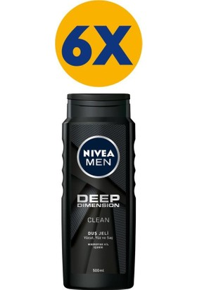 Nivea Men Deep Dimension Duş Jeli 500 ml x 6