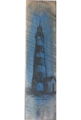 Pratikolay Doğal Ahşap Lighthouse (Büyük) Retro Dekoratif Tablo