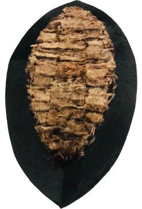 Bienna Fur El Dokuması Siyah Bordür Koyu Kahve Oval Toskana Halı
