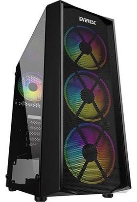 Everest Flat Mesh 4x12cm Rainbow Fan Tempered Camlı Bilgisayar Kasası