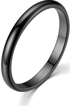 Chavin 2 mm Söz Nişan Siyah İp Kaplama Unisex Çelik Yüzük EH23SY