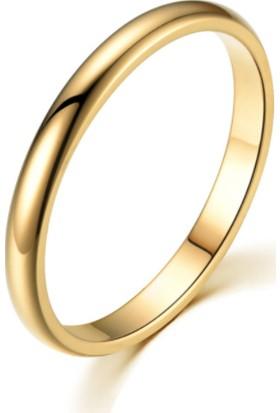 Chavin 2 mm Söz Nişan Gold İp Kaplama Unisex Çelik Yüzük EH23SR