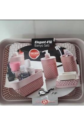 Poyraz Elegant Inci Desen Banyo lavabo Seti Sıvı Sabunluk ve Havlu Sepeti