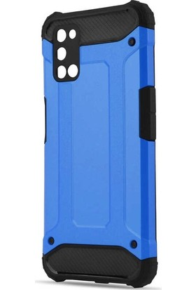 Tbkcase Oppo A72 Kılıf Çift Katmanlı Tank Kapak Mavi + Nano Ekran Koruyucu