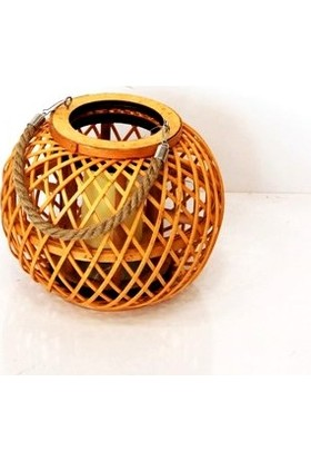 Sever Dekoratif Halatlı Bambu Fener