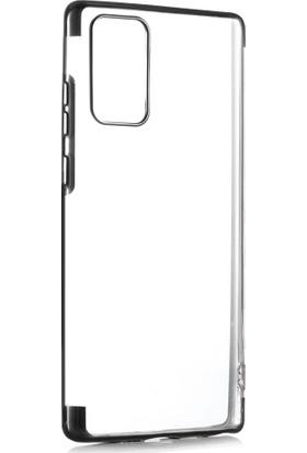 Kny Samsung Galaxy Note 20 Ultra Kılıf 4 Köşe Renkli Şeffaf Laser Silikon Siyah