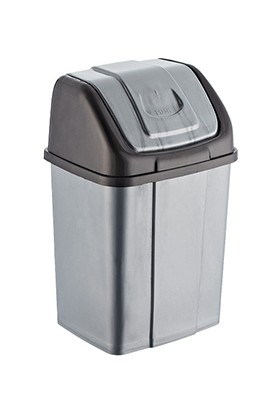 Alkansan Pla Setiik Çöp Kovası 10 lt Kapasiteli Gri Siyah