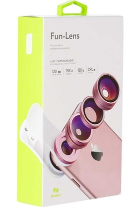 Benks 4 In 1 Optik Telefon Kamera Lens Rose Gold