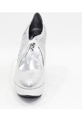 Arıcı 101 Lame Rengi Bilekten Bağlamalı Açık Gece Platform Ayakkabı