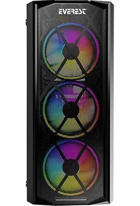 Everest FLAT MESH 4x12cm Rainbow Fan Tempered Camlı 600W Bilgisayar Kasa