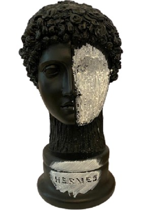 Molina Store Hermes Büst Heykel Siyah Beyaz