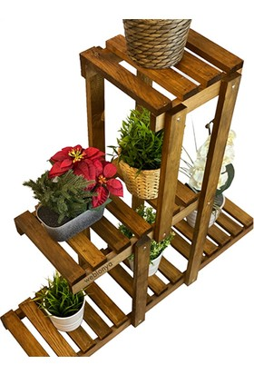Saksı Standı Bahçe Saksılık Çiçek Rafı Ahşap Saksılık 2007