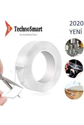 Technosmart 5 Metre Çift Taraflı Nano Teknolojili Süper Güçlü Bant Extragüçlü Duvar Çerçeve Taşıyıcı