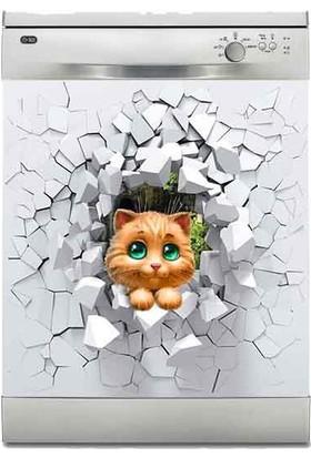 Jasmin Bulaşık Makinası Sticker Kaplama Etiketi Şirin Kedi