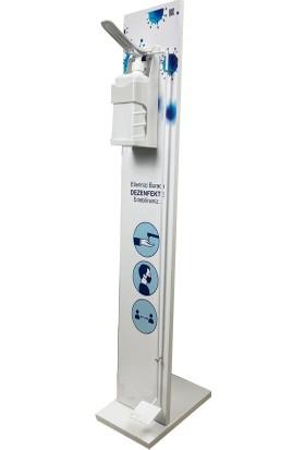 Bayz 115X20 cm Bayz Pedallı Dezenfektan Standı / Kol Dirsek Basmalı Aparatlı