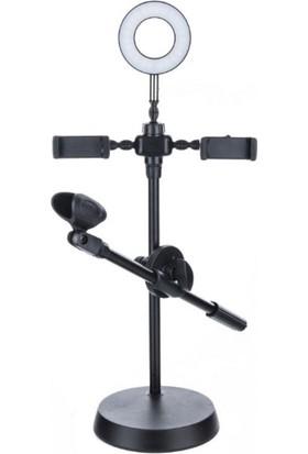 Sezy Yayıncı Stüdyo Youtuber Mikrofonu Standı Işık ve Telefon Tutucu Tripod