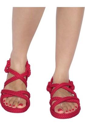 Nomadic Republic Tahiti Kadın Halat Sandalet - Kırmızı