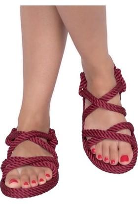 Nomadic Republic Tahiti Kadın Halat Sandalet - Bordo