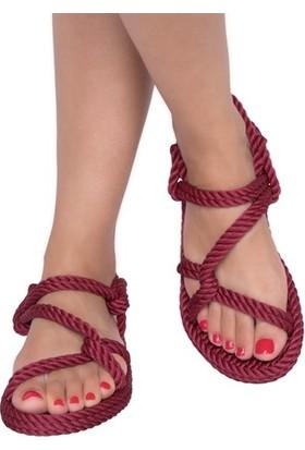 Nomadic Republic Mykonos Kadın Halat Sandalet - Bordo
