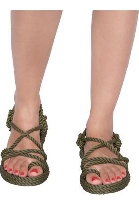 Nomadic Republic Ibiza Kadın Halat Sandalet - Haki