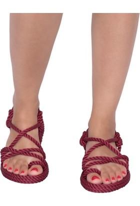 Nomadic Republic Ibiza Kadın Halat Sandalet - Bordo