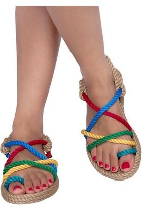 Nomadic Republic Ibiza Kadın Halat Sandalet - Bej-Gökkuşağı