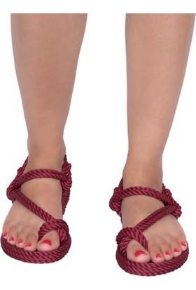 Nomadic Republic Hawaii Kadın Halat Sandalet - Bordo