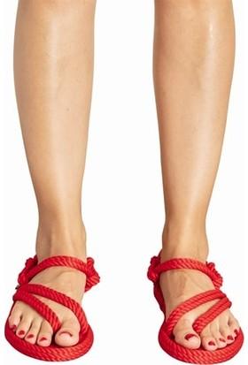 Nomadic Republic Cancun Kadın Halat Sandalet - Kırmızı