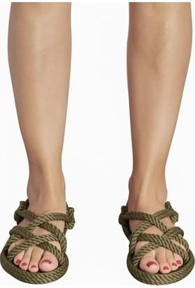 Nomadic Republic Bodrum Kadın Halat Sandalet - Haki