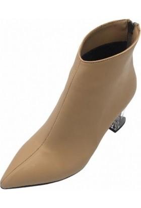 Big Ayakkabı Ten Cilt 7 cm Şeffaf Ökçe Şık Kadın Bot