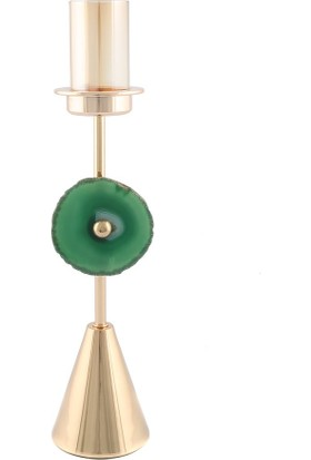 Vitale Zerah Gold Yeşil Taşlı Mumluk 8X30 cm