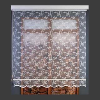 Aniper Çift Mekanizmalı Krem Yaprak Desen Tül Stor Perde 110x200 cm